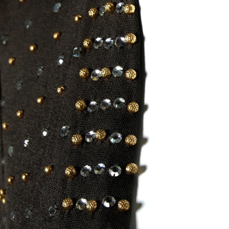 Adele Simpson Vintage Crystal Rhinestone + Beaded Silk Jersey Jacket For Sale 1