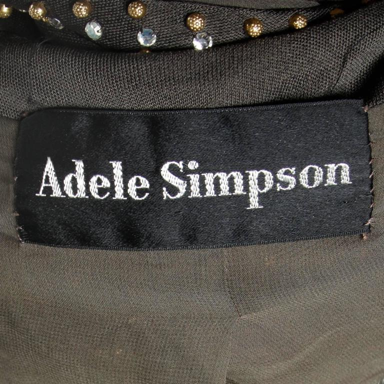 Adele Simpson Vintage Crystal Rhinestone + Beaded Silk Jersey Jacket In Excellent Condition For Sale In Sparks, NV