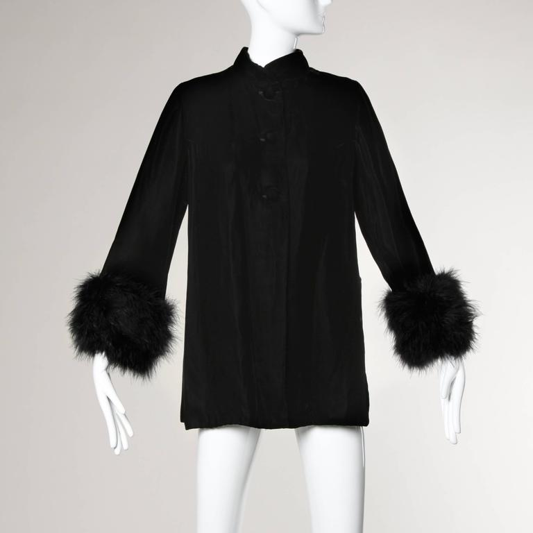1960s Vintage Black Velvet Swing Jacket or Coat with Marabou Feather Cuffs 5