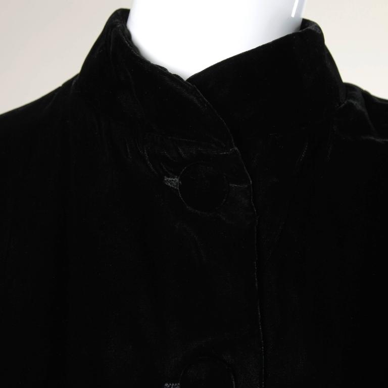 1960s Vintage Black Velvet Swing Jacket or Coat with Marabou Feather Cuffs 6