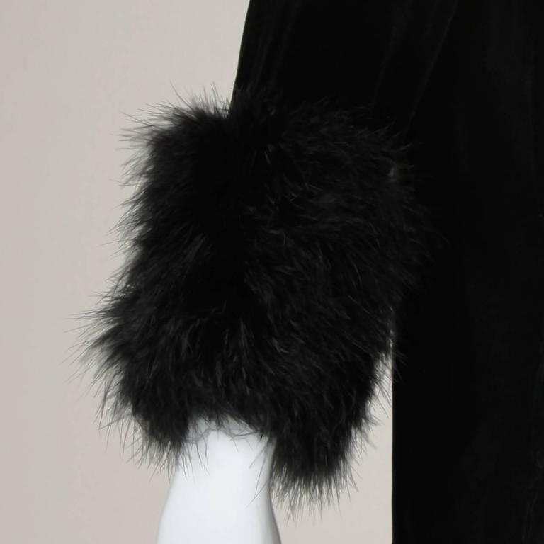 1960s Vintage Black Velvet Swing Jacket or Coat with Marabou Feather Cuffs 3