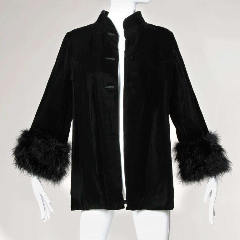 1960s Vintage Black Velvet Swing Jacket or Coat with Marabou Feather Cuffs 2