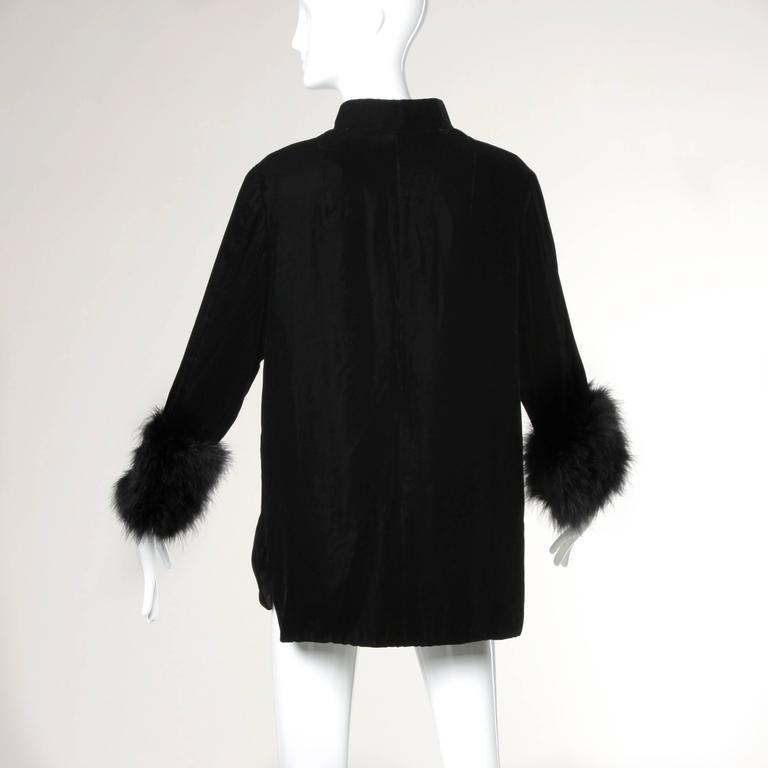 1960s Vintage Black Velvet Swing Jacket or Coat with Marabou Feather Cuffs 4