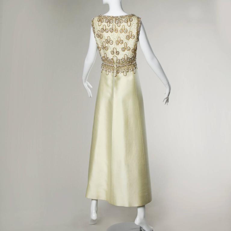 Beige 1960s Heavily Beaded Silk Shantung Evening Gown For Sale