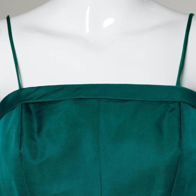 Suzy Perette Vintage 1950s Green Silk Cocktail Dress with an Origami Bubble Hem For Sale 1