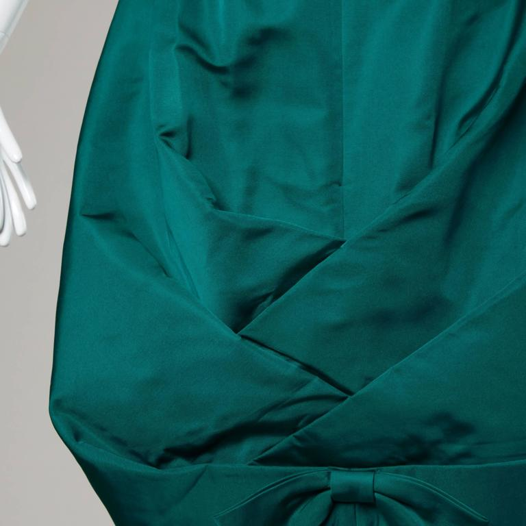 Blue Suzy Perette Vintage 1950s Green Silk Cocktail Dress with an Origami Bubble Hem For Sale