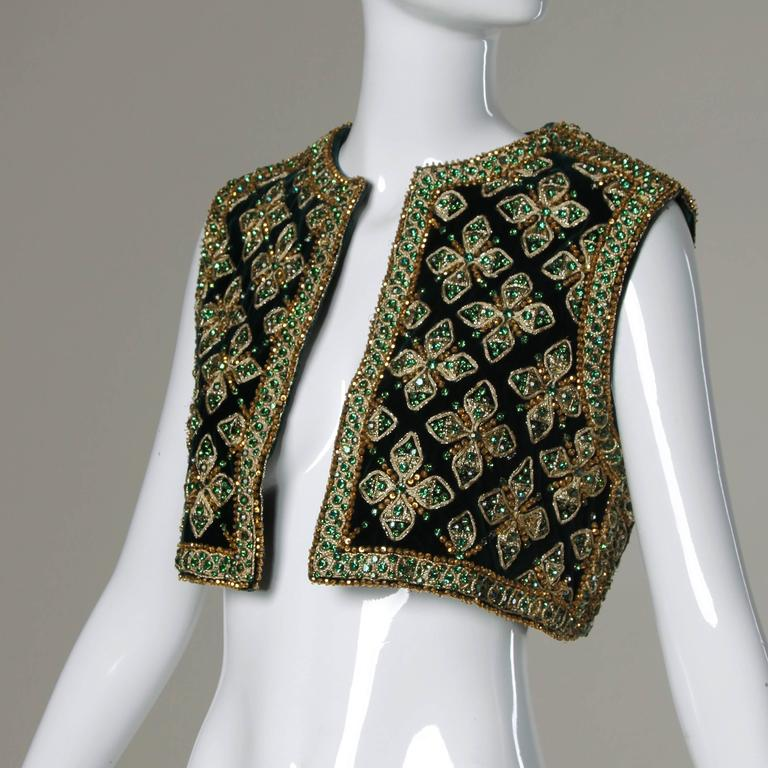 Larry Aldrich by Marie McCarthy Vintage 1960s Embellished Vest or Waistcoat For Sale 2