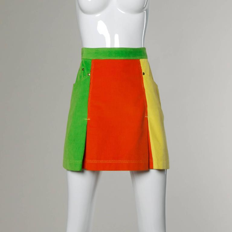 Moschino Vintage Color Block Corduroy Mini Skirt 6