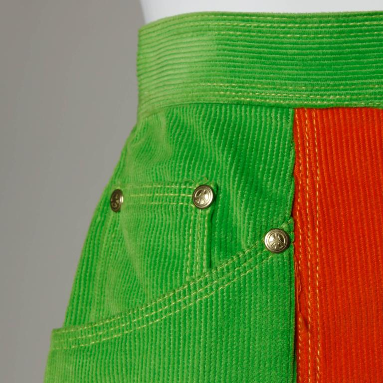 Moschino Vintage Color Block Corduroy Mini Skirt 7