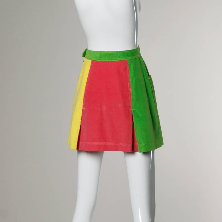 Moschino Vintage Color Block Corduroy Mini Skirt 4