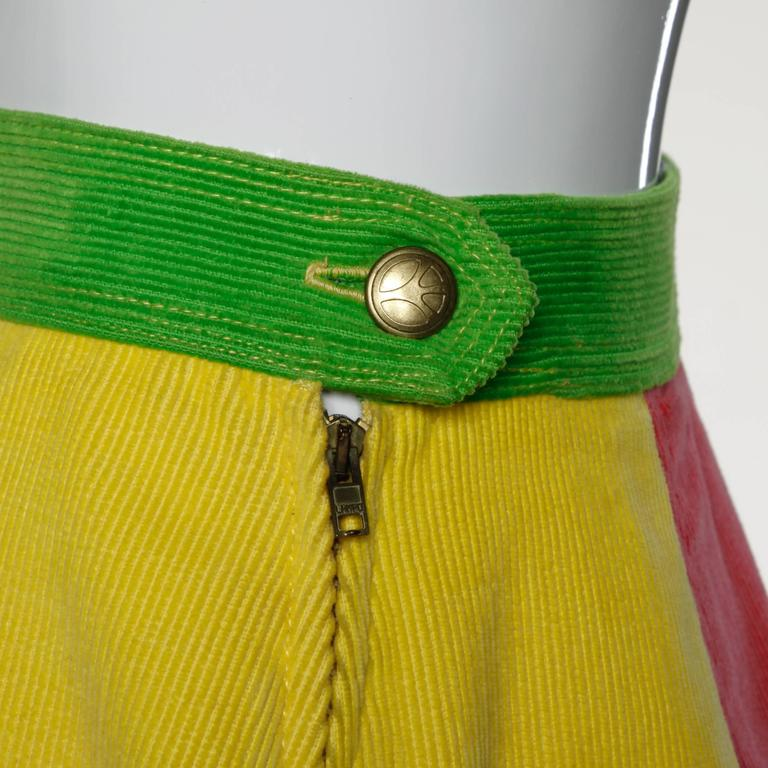 Moschino Vintage Color Block Corduroy Mini Skirt 2