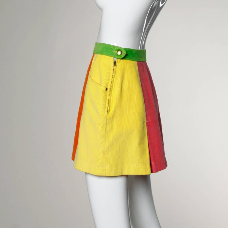 Moschino Vintage Color Block Corduroy Mini Skirt 5