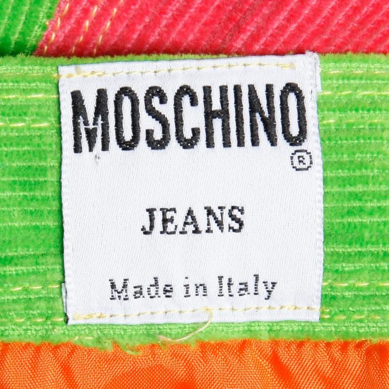Moschino Vintage Color Block Corduroy Mini Skirt 3