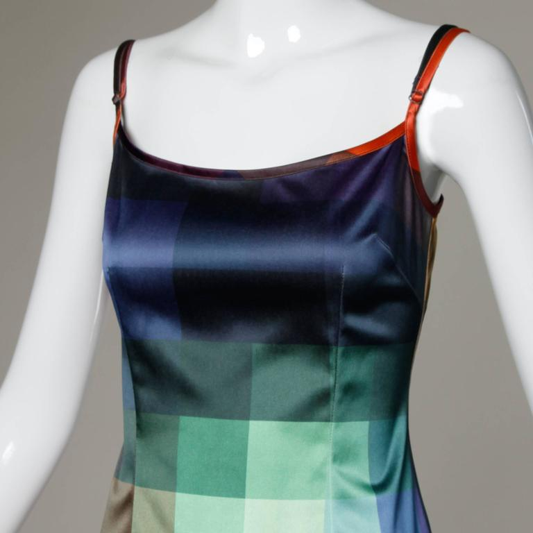 Moschino Vintage Graphic Rainbow Checkered Ombre Dress 2