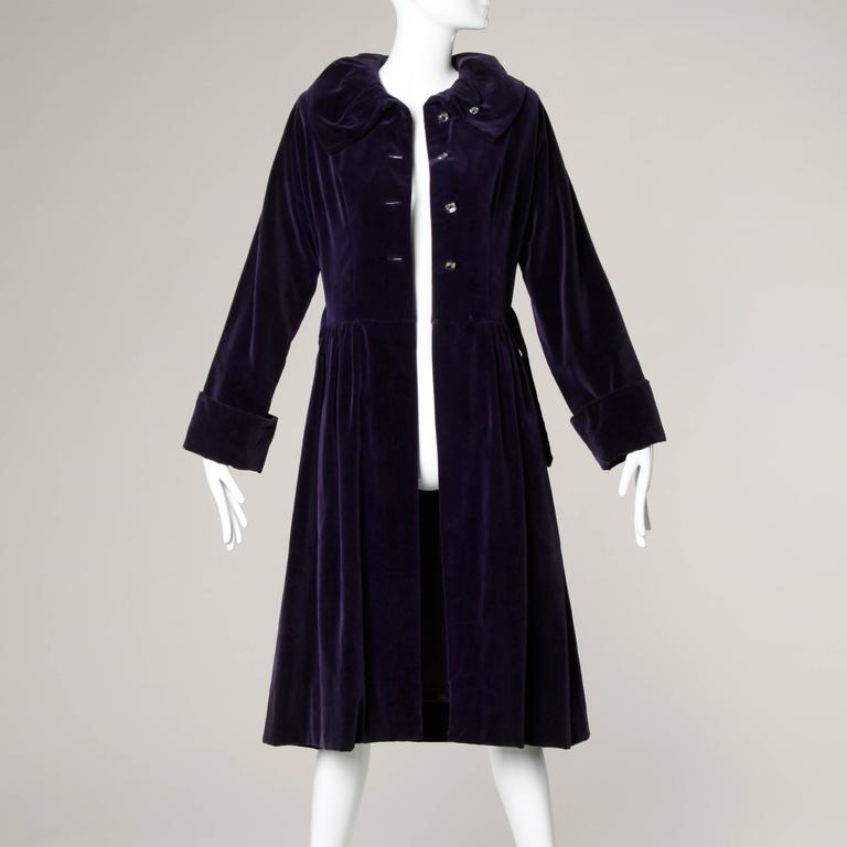 Gorgeous 1940s Vintage Purple Velvet Coat with Glass Buttons + Matching Belt For Sale 1