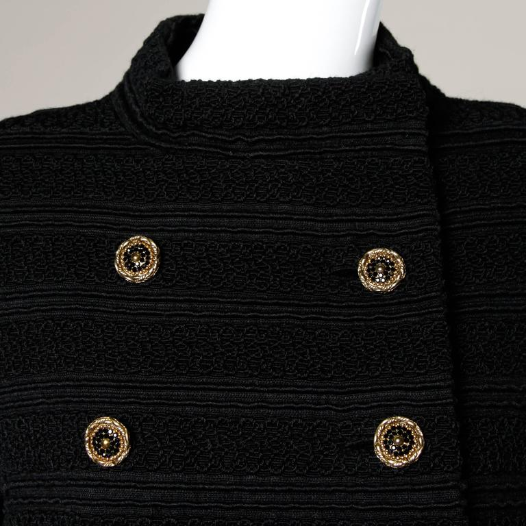 1960s Vintage Wool Mod Coat with Military Chain Detail + Rhinestone Buttons 6
