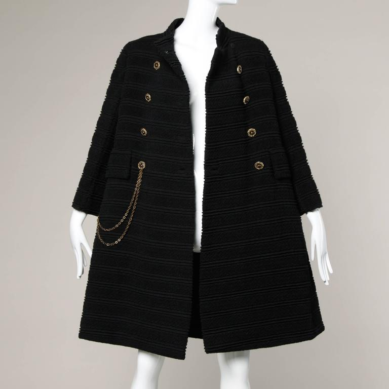1960s Vintage Wool Mod Coat with Military Chain Detail + Rhinestone Buttons 4