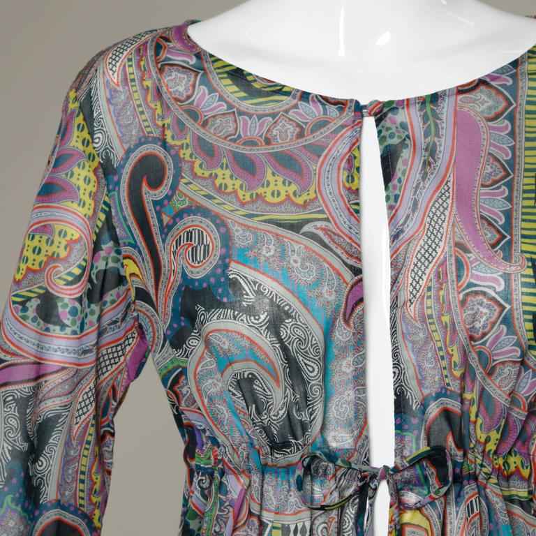 Etro Sheer Paisley Print Dress with Beaded Tie 2