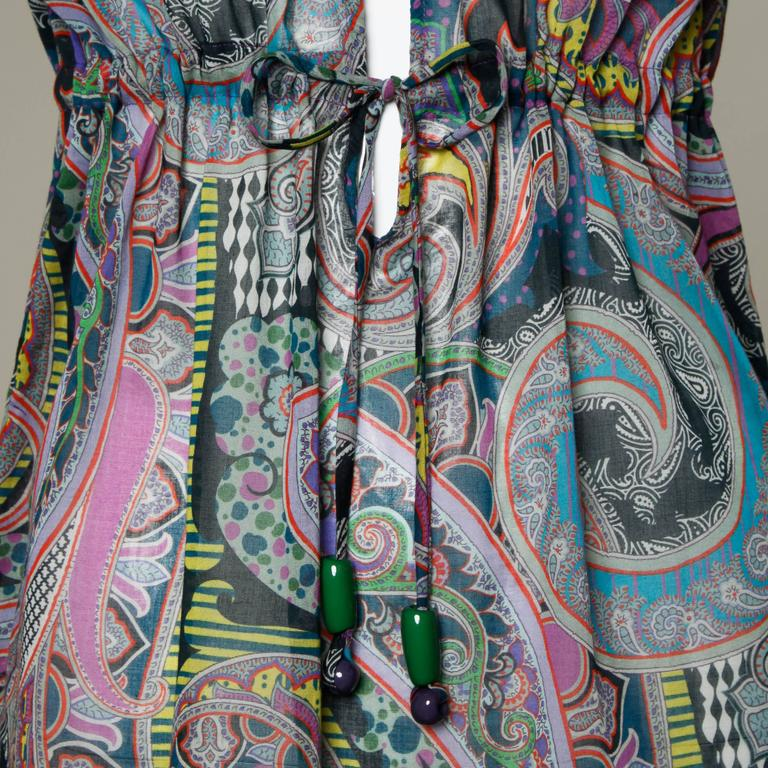 Etro Sheer Paisley Print Dress with Beaded Tie 7