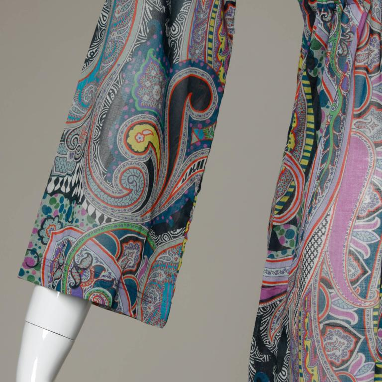 Etro Sheer Paisley Print Dress with Beaded Tie 6