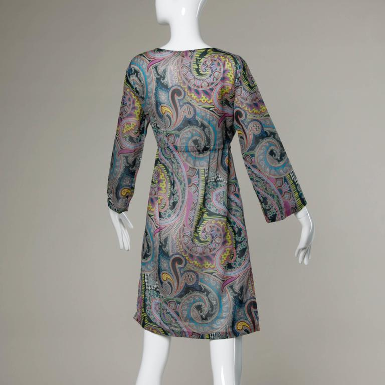 Etro Sheer Paisley Print Dress with Beaded Tie 3