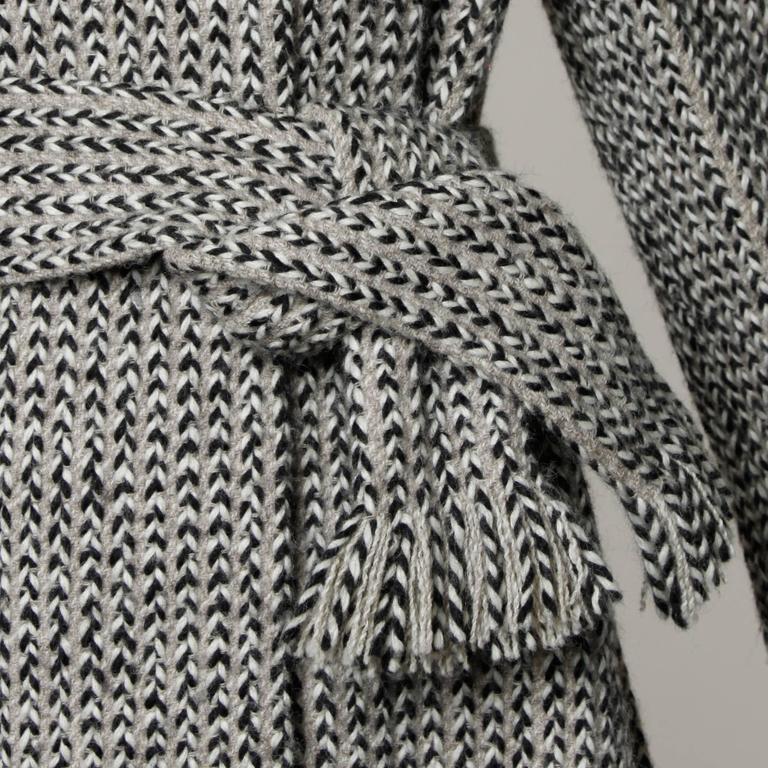 Pauline Trigere Vintage Herringbone Wool Coat with Ascot Scarf, 1960s  1