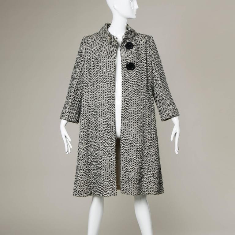 Women's Pauline Trigere Vintage Herringbone Wool Coat with Ascot Scarf, 1960s
