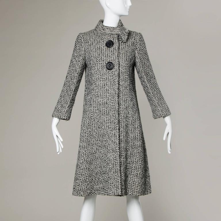 Pauline Trigere Vintage Herringbone Wool Coat with Ascot Scarf, 1960s  3