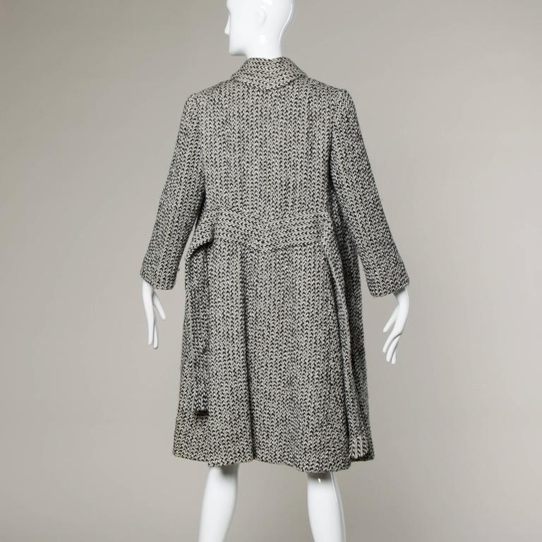 Pauline Trigere Vintage Herringbone Wool Coat with Ascot Scarf, 1960s  2