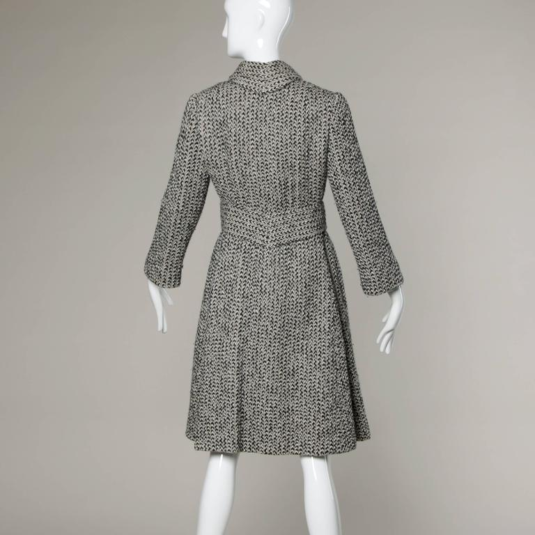 Gray Pauline Trigere Vintage Herringbone Wool Coat with Ascot Scarf, 1960s  For Sale