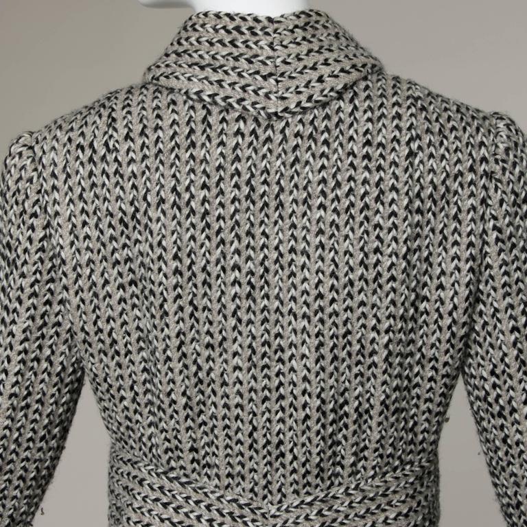 Pauline Trigere Vintage Herringbone Wool Coat with Ascot Scarf, 1960s  4