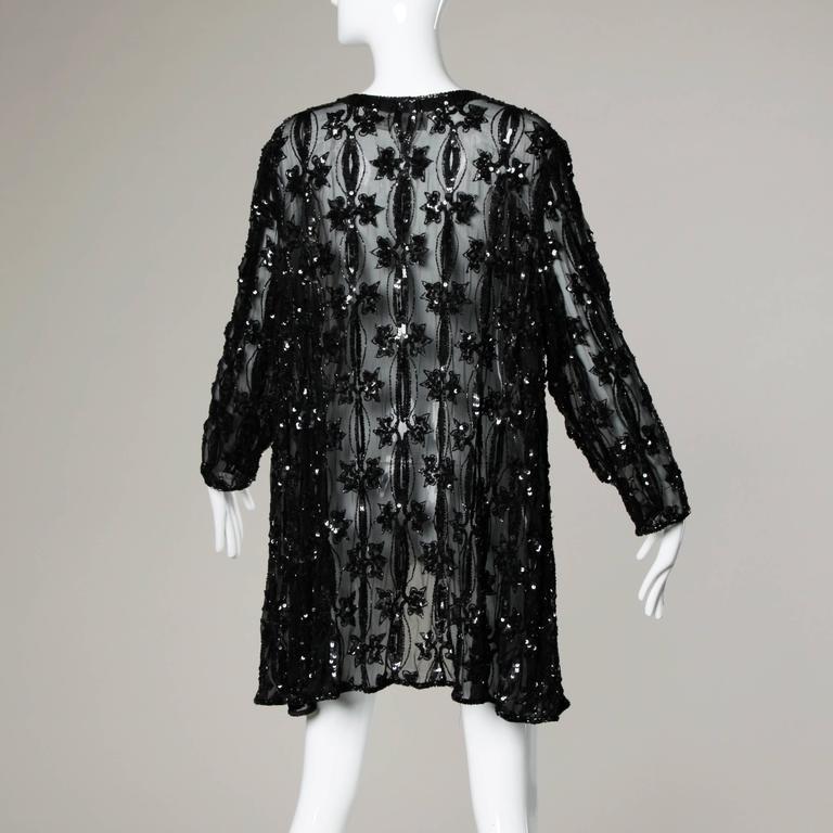 Vintage Black Sheer Beaded Sequin Silk Duster Jacket Or