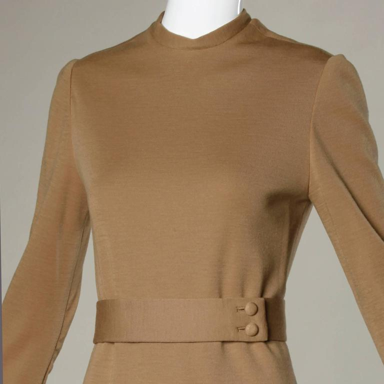 Norman Norell 1960s Vintage Camel Silk + Wool Knit Dress with Belt 2