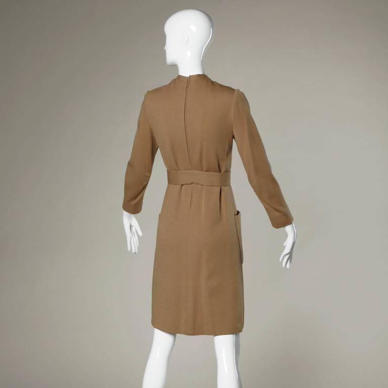 Norman Norell 1960s Vintage Camel Silk + Wool Knit Dress with Belt 3