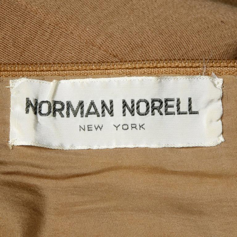 Norman Norell 1960s Vintage Camel Silk + Wool Knit Dress with Belt 4
