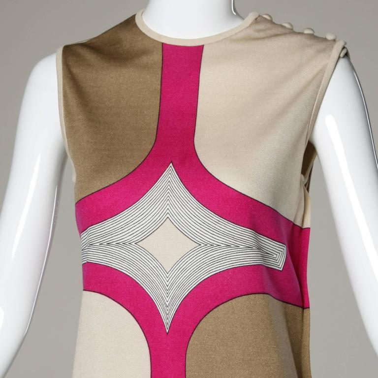 1970s Signed Paganne by Gene Berk Vintage Op Art Graphic Mod Print Dress 5