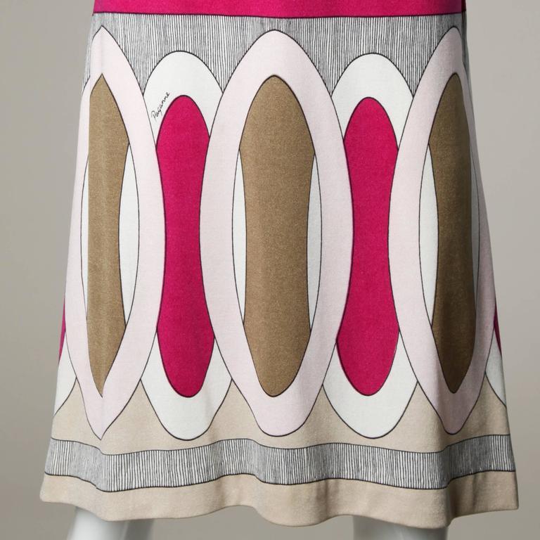 1970s Signed Paganne by Gene Berk Vintage Op Art Graphic Mod Print Dress 6