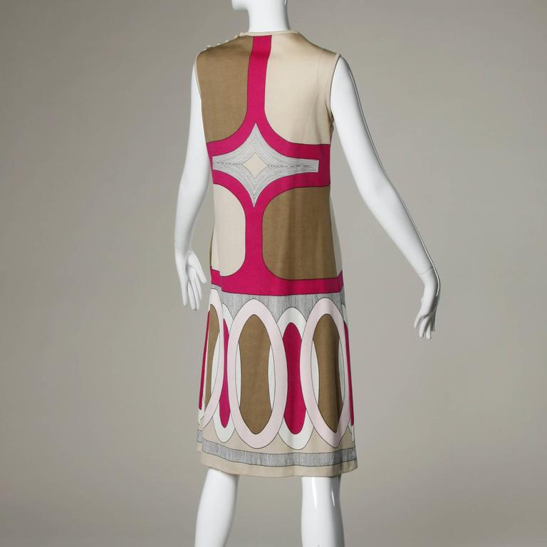 1970s Signed Paganne by Gene Berk Vintage Op Art Graphic Mod Print Dress 3
