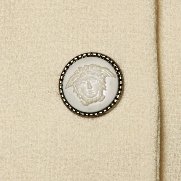 Women's Gianni Versace Couture Vintage 90s Wool Jacket + Skirt Suit with Medusa Buttons For Sale