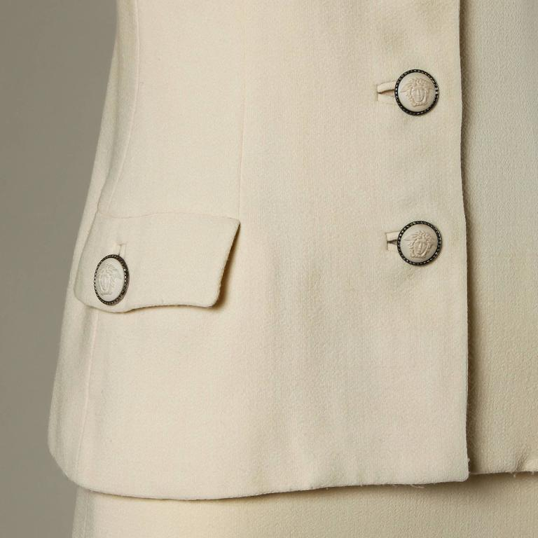 Gianni Versace Couture Vintage 90s Wool Jacket + Skirt Suit with Medusa Buttons For Sale 1