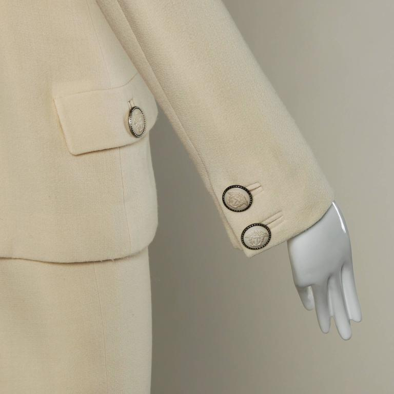 Gianni Versace Couture Vintage 90s Wool Jacket + Skirt Suit with Medusa Buttons For Sale 2