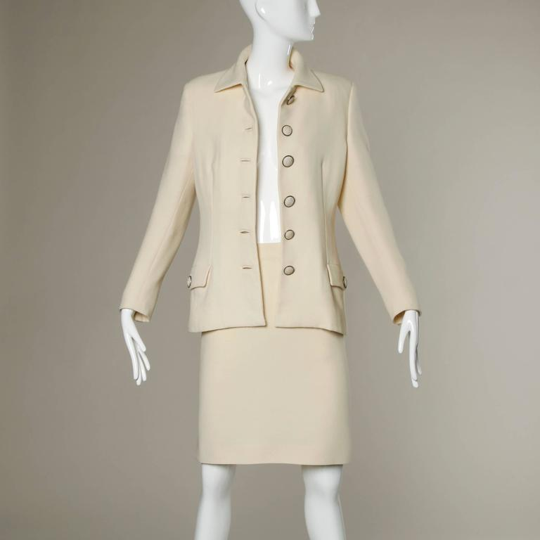 Gianni Versace Couture Vintage 90s Wool Jacket + Skirt Suit with Medusa Buttons For Sale 3