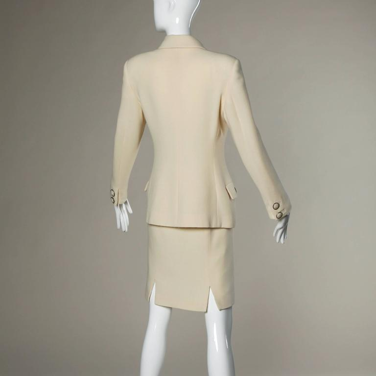 Beige Gianni Versace Couture Vintage 90s Wool Jacket + Skirt Suit with Medusa Buttons For Sale