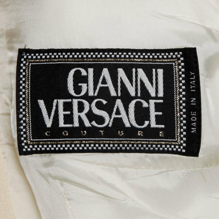 Gianni Versace Couture Vintage 90s Wool Jacket + Skirt Suit with Medusa Buttons In Excellent Condition For Sale In Sparks, NV