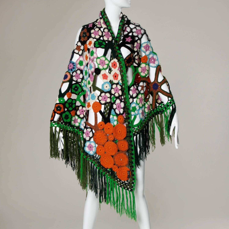 Crochet Pattern For Bohemian Shawl : 1960s Vintage Wool Hand-Crochet Bohemian Wrap Shawl or ...