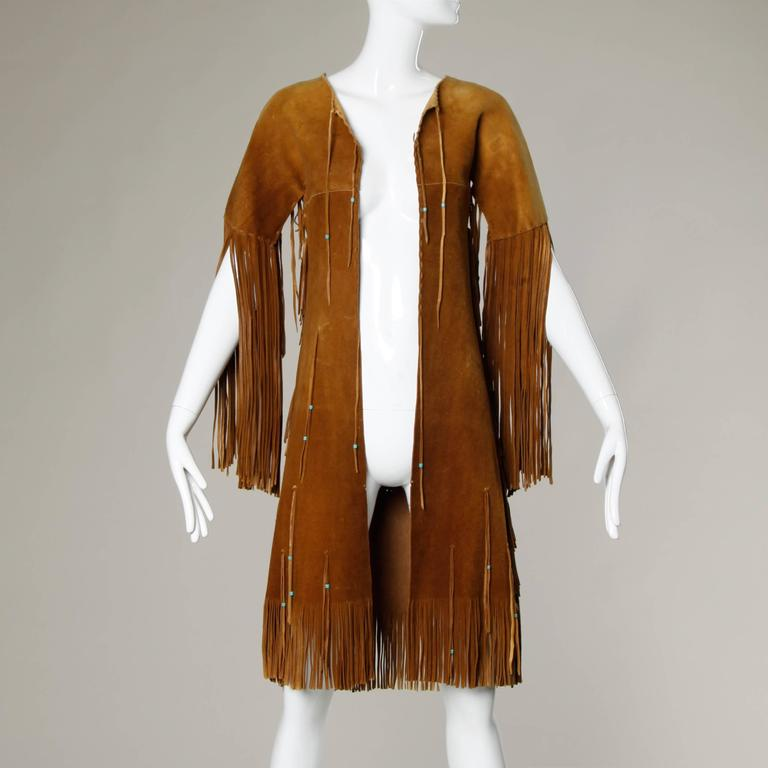 Rare Traditionally Hand-Crafted Vintage Native American Buckskin Fringe Coat 5