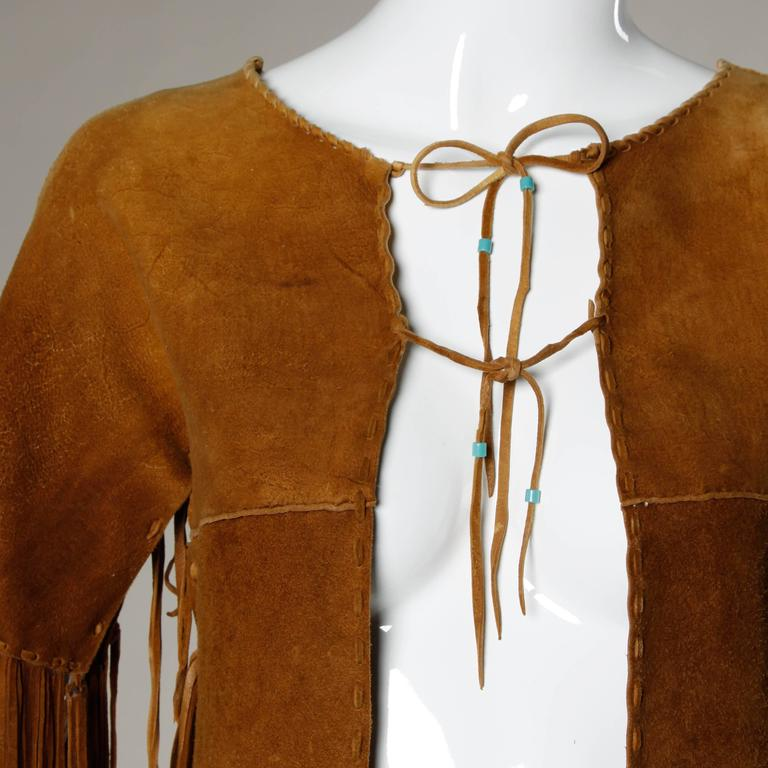 Rare Traditionally Hand-Crafted Vintage Native American Buckskin Fringe Coat 8