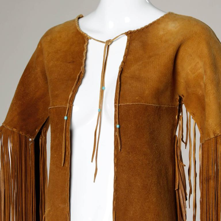 Rare Traditionally Hand-Crafted Vintage Native American Buckskin Fringe Coat 3
