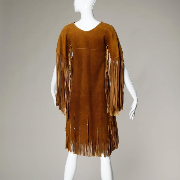 Rare Traditionally Hand-Crafted Vintage Native American Buckskin Fringe Coat 4