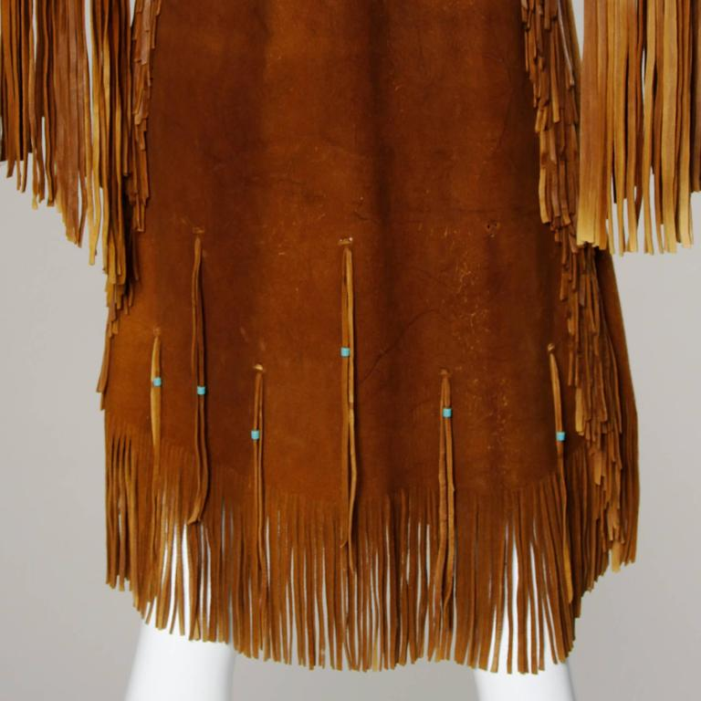 Rare Traditionally Hand-Crafted Vintage Native American Buckskin Fringe Coat 6